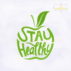 Stay Healthy Green Apple Embroidery Design