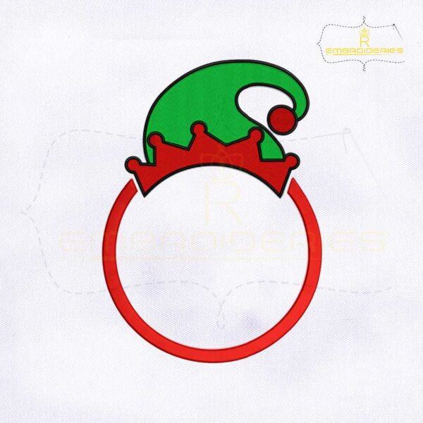 Christmas Santa Elf Hat Monogram Embroidery Design