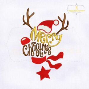 Reindeer Merry Christmas Embroidery Design