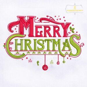 Merry Christmas Ornamental Embroidery Design