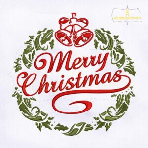 Merry Christmas Floral Embroidery Design