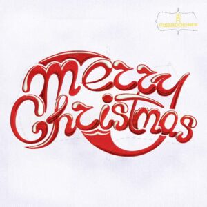 Stylish Merry Christmas Lettering Embroidery Design