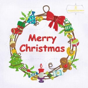Decorative Merry Christmas Floral Embroidery Design