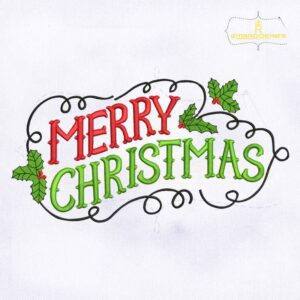 Vintage Merry Christmas Lettering Embroidery Design