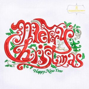 Merry Christmas and Happy New Year Embroidery Design