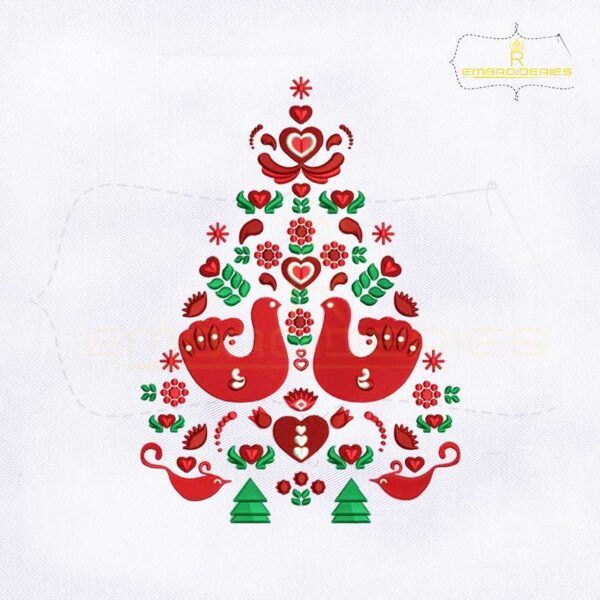 Scandinavian Christmas Tree Embroidery Design