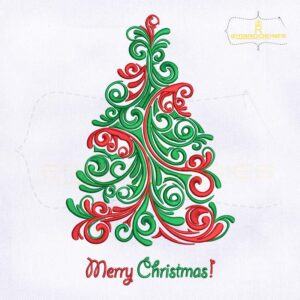 Swirl Scandinavian Christmas Tree Embroidery Design