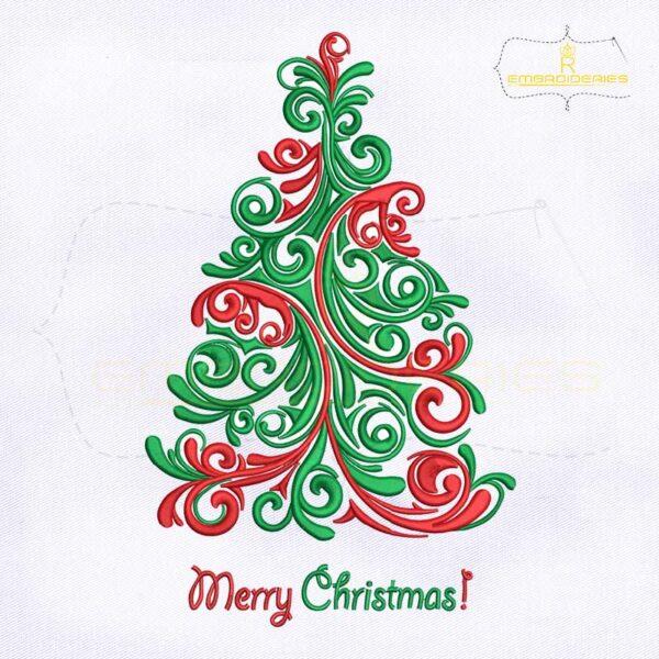 Swirl Scandinavian Christmas Tree Embroidery Design
