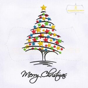 Decorative Merry Christmas Tree Embroidery Design