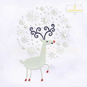 Snowfall Caribou Christmas Embroidery Design