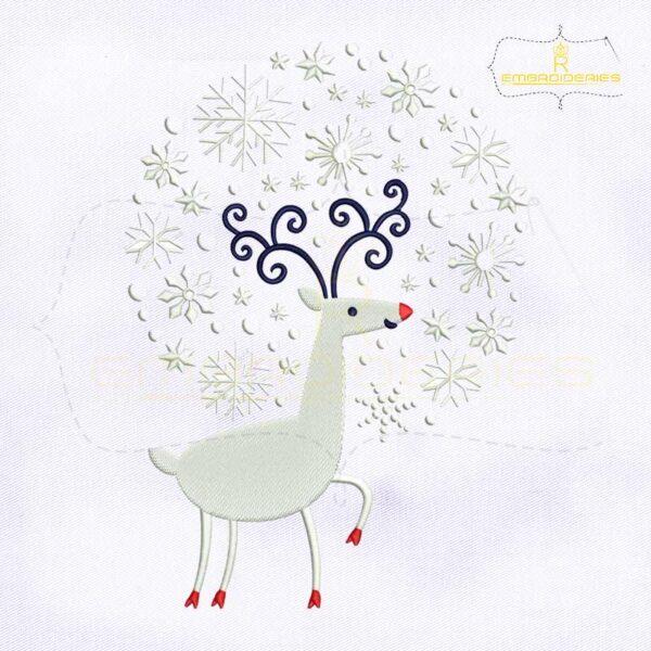 Snowfall Caribou Christmas Embroidery Design