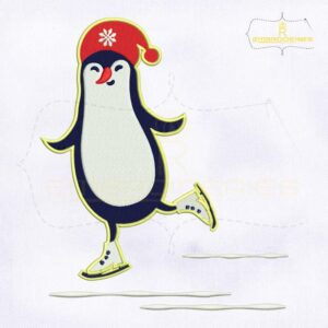Snow Playing Hello Christmas Penguin Embroidery Design