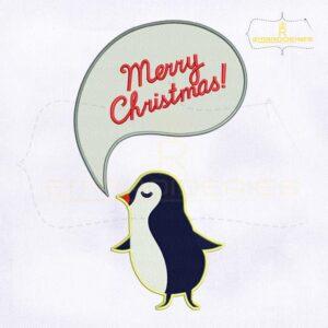 Merry Christmas Speech Bubble Penguin Embroidery Design