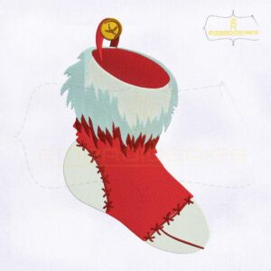 Red Christmas Stocking Embroidery Design