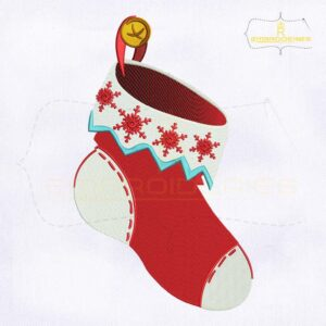 Decorative Red Christmas Socks Embroidery Design