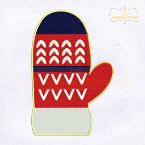 Decorative Red Christmas Gloves Embroidery Design