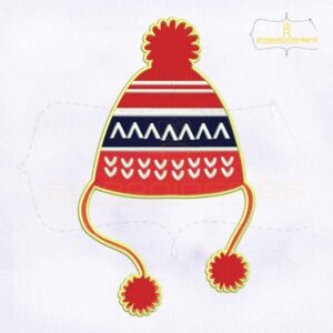 Decorative Red Christmas Hat Embroidery Design