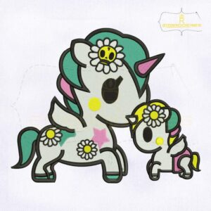Beautiful Mom And Baby Unicorn Embroidery Design