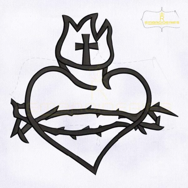 Sacred Heart Symbol Machine Embroidery Design