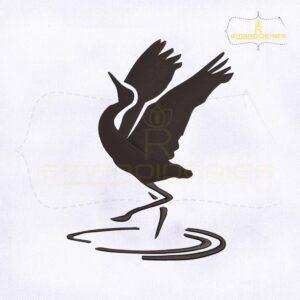 Sandhill Crane Symbol Machine Embroidery Design