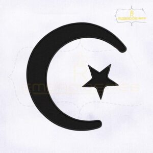 Muslim Crescent and Star Machine Embroidery Design