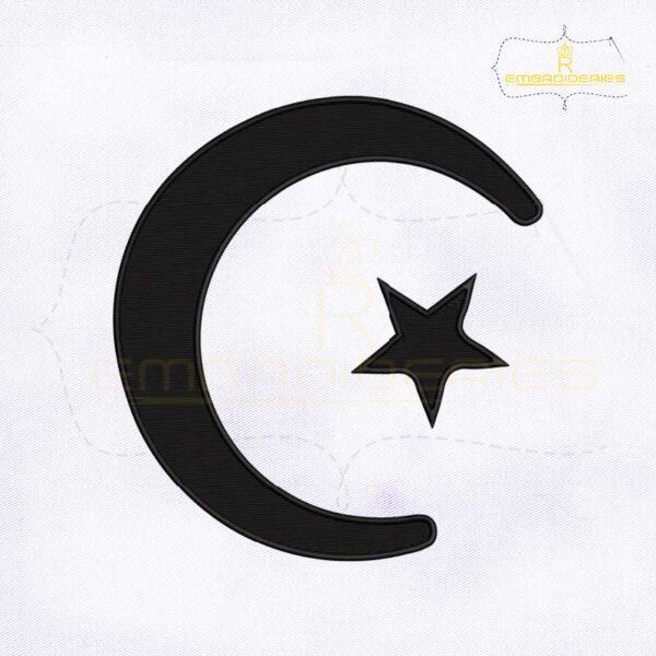 Muslim Crescent and Star Machine Embroidery Design