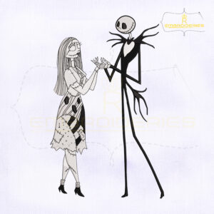 10789-08 TNBC Jack And Sally Embroidery Design