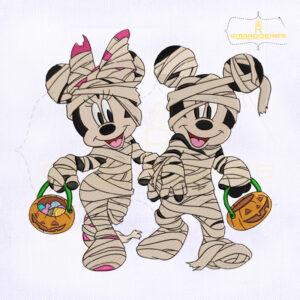Mickey And Minnie Mummy Embroidery Design