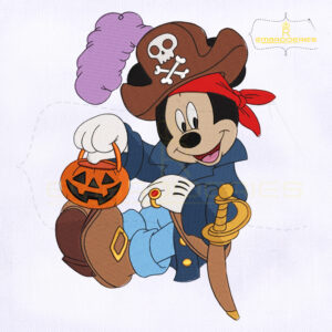 Halloween Mickey Pirate Embroidery Design
