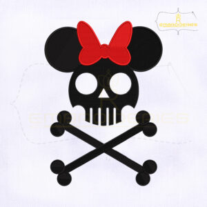 Skull And Bones Minnie Embroidery Design