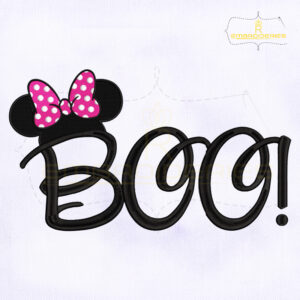 Halloween Minnie Mouse Boo Embroidery Design