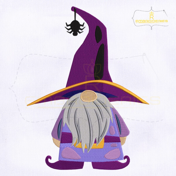 Halloween Gnome Witch Embroidery Design