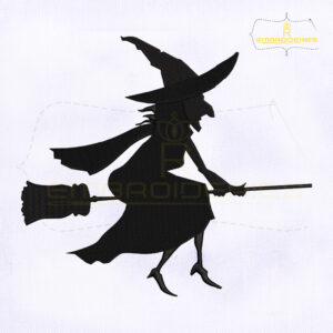 Halloween Witch Silhouette Embroidery Design