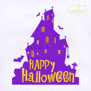 Happy Halloween Haunted House Embroidery Design