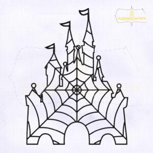 Spider Web Halloween Castle Embroidery Design