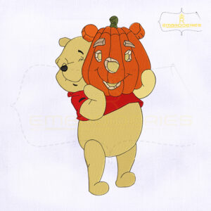 Pooh Halloween Pumpkin Embroidery Design