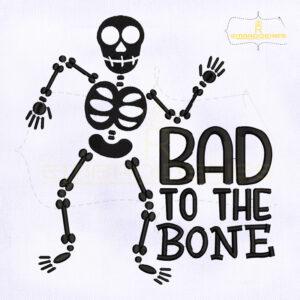 Bad to The Bone Skeleton Embroidery Design