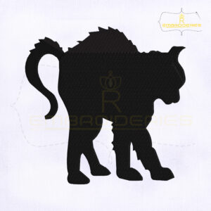 Scary Halloween Cat Embroidery Design