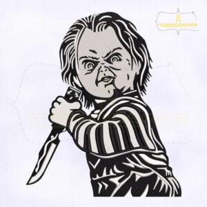 Horror Movie Killer Chucky Machine Embroidery Design