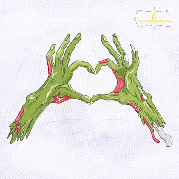 Zombie Hands Heart Shape Embroidery Design
