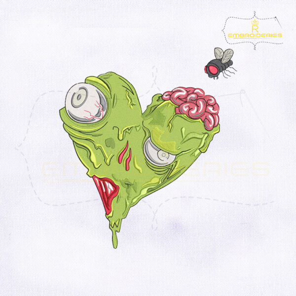 Horror Heart Zombie Embroidery Design