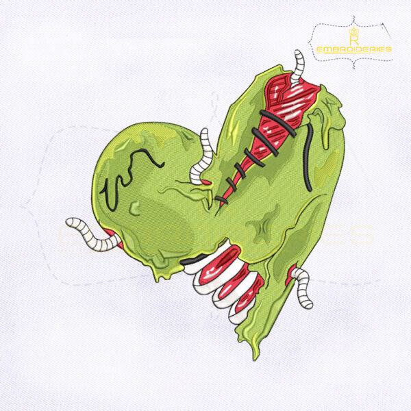 Creepy Zombie Heart Embroidery Design
