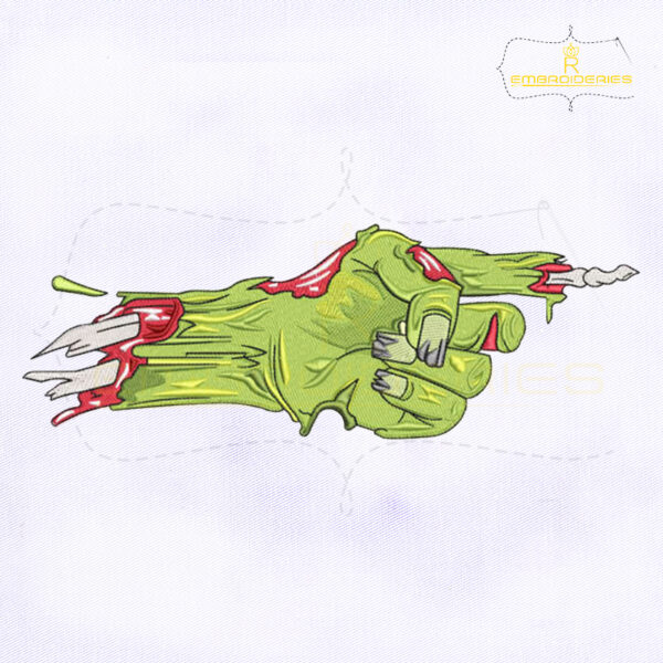 Pointing Finger Zombie Hand Embroidery Design