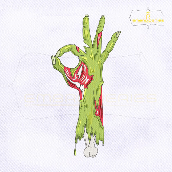 Zombie Hand Okay Sign Embroidery Design