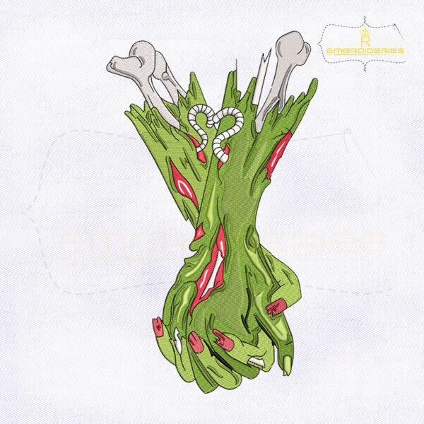 Zombie Hands Holding Embroidery Design