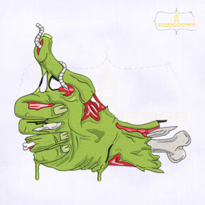 Thumbs Up Zombie Hand Embroidery Design
