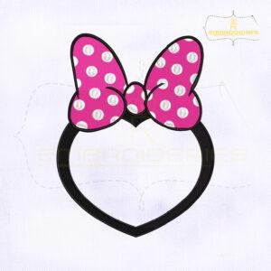 Minnie Bow Heart Monogram Embroidery Design