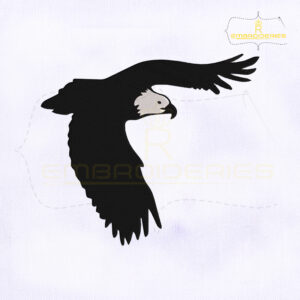 Flying Bald Eagle Embroidery Design