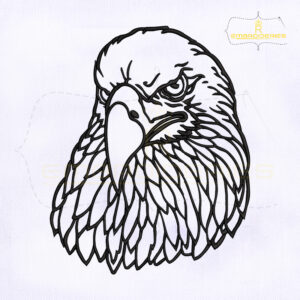 Outline Eagle Head Embroidery Design