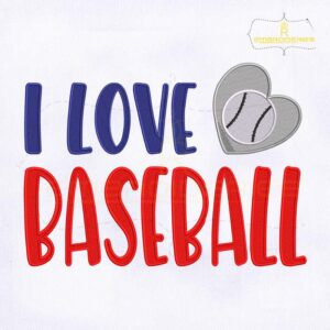 I Love Baseball Machine Embroidery Design